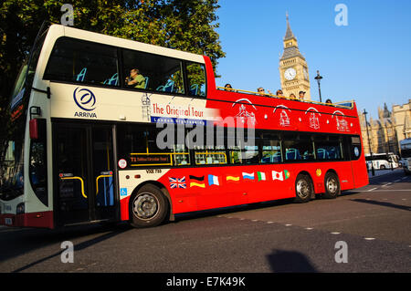 Open-top sightseeing bus on Parliament Square in London England United Kingdom UK - Stock Photo