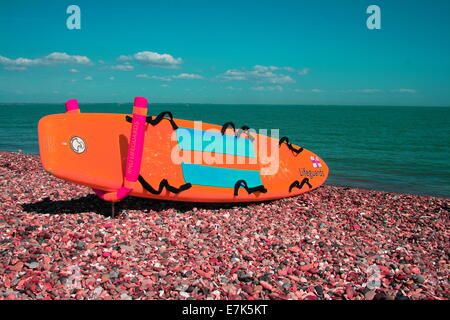 Infrared image RNLI Lifeguard surfboard on the beach at Minster on Sea in Kent on the Isle of Sheppey