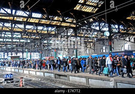 crowd of travelers in Estacion Constitution Buenos Aires Argentina Stock Photo