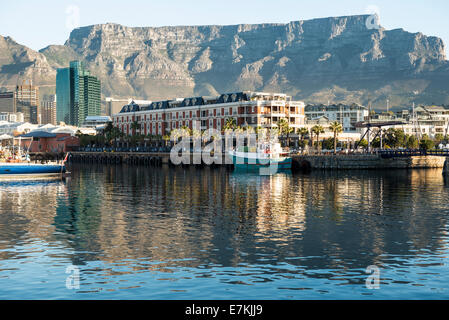 Victoria and Alfred Waterfront Cape Town South Africa with Cape Grace Hotel and Table Mountain - Stock Photo