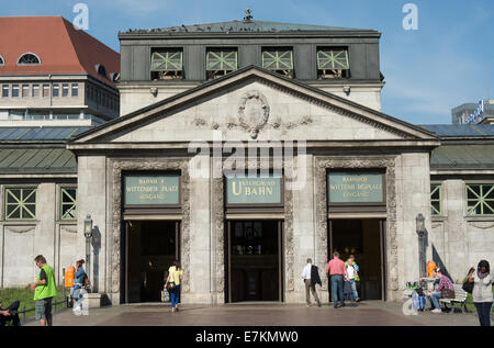 The exterior of Wittenbergplatz U-Bahn station has been restored with a lot of historical features being kept. - Stock Photo