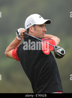 Newport, Wales. 20th Sep, 2014. ISPS Handa Wales Open Golf. Day 3. Ross Fisher of England Credit:  Action Plus Sports/Alamy - Stock Photo