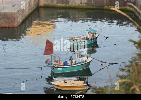 fishing boats in West Wales fishing village of Porthgain in the Pembrokeshire National Park. - Stock Photo