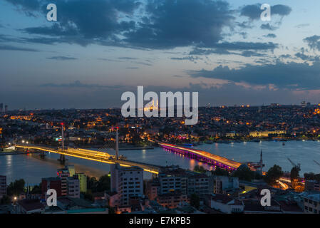The skyline of Istanbul in early evening, looking across the Golden Horn. - Stock Photo