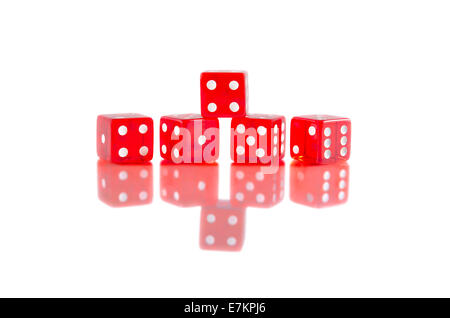 Red dice on white isolated background with beautiful reflection. - Stock Photo