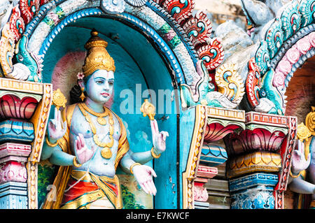 One of the many decorative statues at Sri Krishnan Temple in Singapore. - Stock Photo