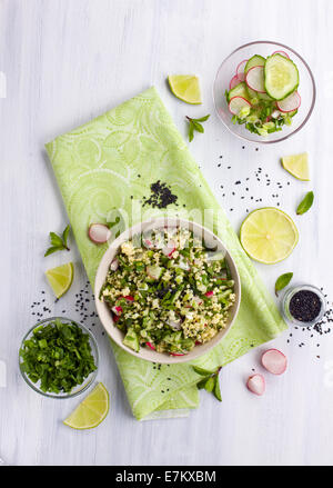 Healthy vegetarian salad shot from above - Stock Photo