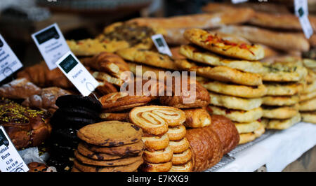 The Real Food Market in Southbank, London offers a big variety of quality food from all around the world. September - Stock Photo