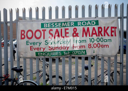 Bessemer Road Boot Sale and Market Sign Cardiff South Wales - Stock Photo