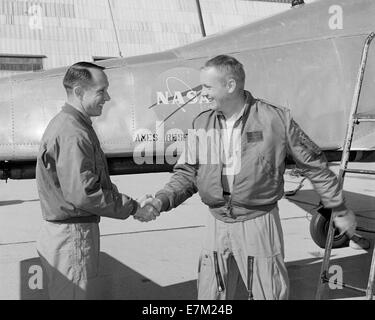 Fred Drinkwater congratulating Neil Armstrong - Stock Photo