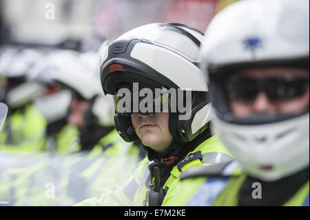 London, London, UK. 20th Sep, 2014. Police motorcyclists line Whitehall as The English Defence League march to Downing - Stock Photo