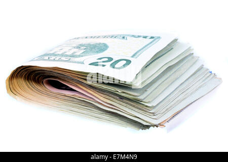 Bunch of twenty dollar bills isolated on white - Stock Photo