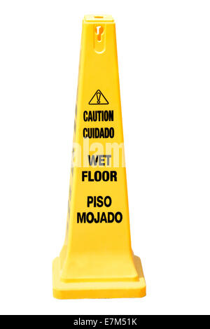 ... Yellow Cone Cautioning For Wet Floor In English And Spanish Isolated On  White   Stock Photo