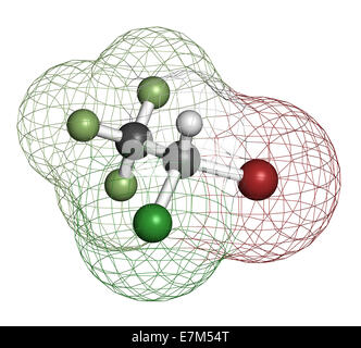 Halothane general anesthetic drug molecule. Atoms are represented as spheres with conventional color coding: hydrogen - Stock Photo