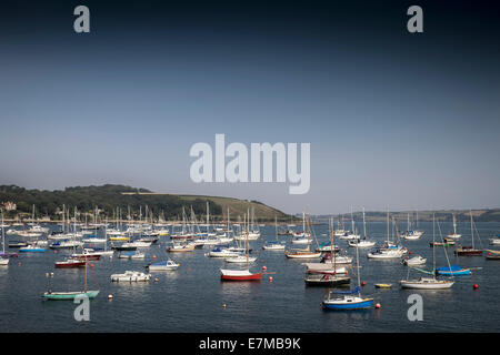 Boats moored in Carrick Roads in Falmouth. - Stock Photo