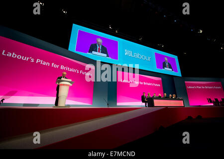 Manchester, UK. 21st September, 2014. A general view of the auditorium on day one of the Labour Party's Annual Conference - Stock Photo