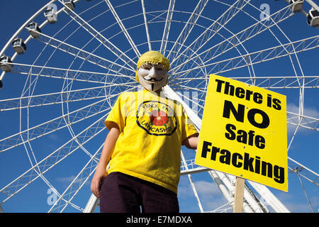 Manchester, UK  21st September, UK. 'There is no Safe Fracking' says Morgan Marshall, 12 years old from Lytham St - Stock Photo
