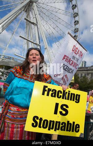Manchester, UK  21st September, UK.  'Fracking is Stoppable' _Angel Selmani at the Frack Free Greater Manchester's - Stock Photo