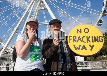 Manchester, UK  21st September, UK.  'No Fracking Way' round drum at the Frack Free Greater Manchester's rally and - Stock Photo