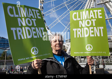 Manchester, UK  21st September, UK.  'Climate not Trident' poster held by Sheila Townsend 74, at the Frack Free - Stock Photo