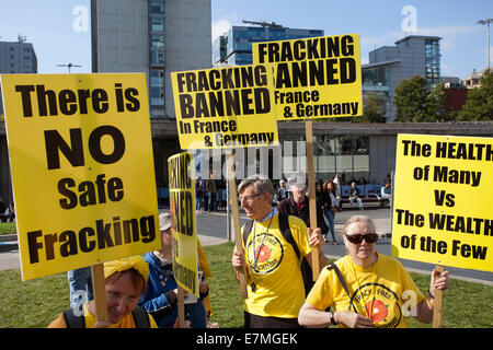 There is No Safe Fracking, protest in Manchester, UK  21st September, UK.  Frack Free Greater Manchester's People's - Stock Photo