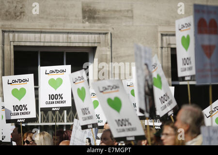 London, UK. 21st Sep, 2014. Placards are pictured at the People's Climate March in London, United Kingdom. Credit: - Stock Photo