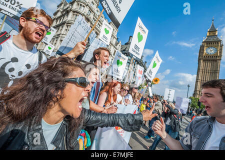 London, UK. 21st Sept 2014. People's Climate march, London – As part of an international day of protest - led by - Stock Photo