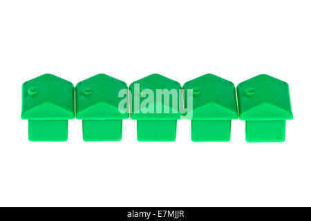 Toy Monopoly Houses In A Row - Stock Photo