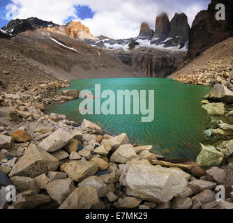 Base of the Towers, Patagonia, Chile. - Stock Photo