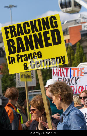Manchester, UK  21st September, UK.  'Fracking banned in Germany' sign at the Greater Manchester's People's Climate - Stock Photo
