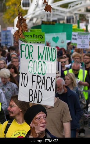 Manchester, UK  21st September, UK.  'For wind good To Frack bad' sign at the Greater Manchester's People's Climate - Stock Photo