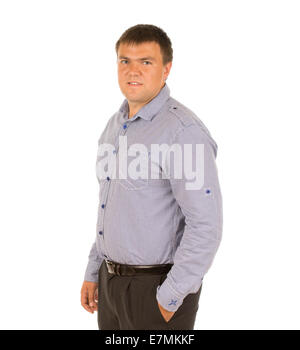 9a41e633c76 Overweight businessman standing with hands on hips · Relaxed overweight  young man standing sideways with his hand in his pocket looking at the  camera