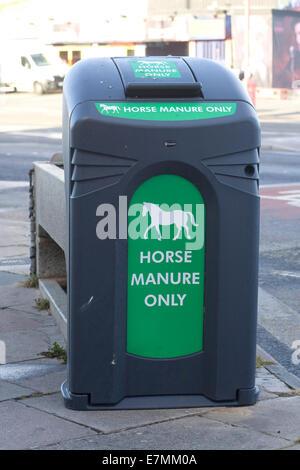 Roadside bin for horse manure on the seafront Blackpool Lancashire UK - Stock Photo