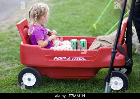Little girl sitting in a Radio Flyer with cans of Beer - Stock Photo