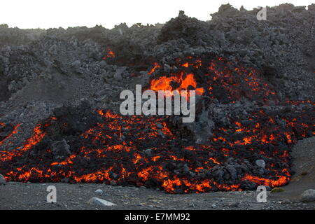 New and burning hot lava from the eruption in Bardarbunga, highlands of Iceland - Stock Photo