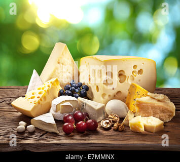 Different types of cheese over old wooden table with green leaves on the background. - Stock Photo