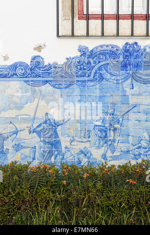 Tiles on wall of Santa Luzia Church, Miradouro de Santa Luzia, Alfama District, Lisbon, Portugal - Stock Photo