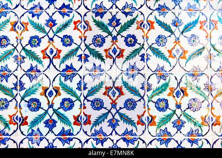 Handmade Blue Tiles from Topkapi Palace - Stock Photo