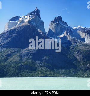 The Torres del Paine above Lago Nordenskjold. - Stock Photo