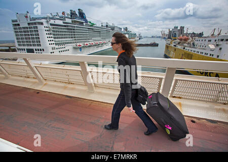 Passenger at cruises seaport in Barcelona, Spain
