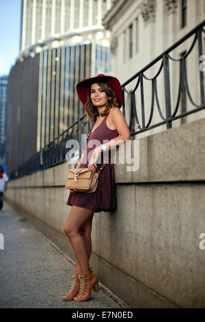 New York Women Fashion Week Spring_Summer 2014 day 1 - street style  Featuring: Sara Escudero,dress - Brandy Melville,bag - Stock Photo