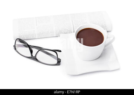 Cup of coffee with a rolled up newspaper and glasses, isolated on white background. My morning routine. - Stock Photo