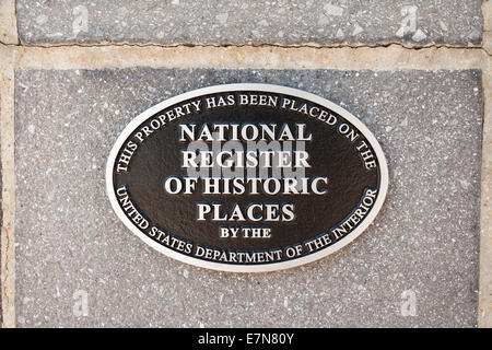 National Register of Historic Places plaque - USA - Stock Photo
