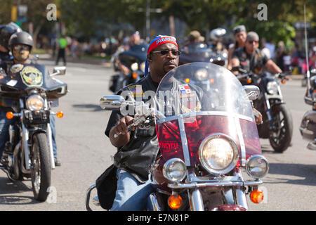 African-American Harley Davidson motorcycle rider -  USA