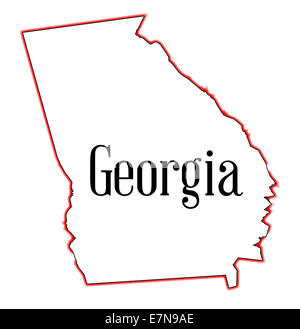 State Map Outline Of Georgia Over A White Background With Map Inset