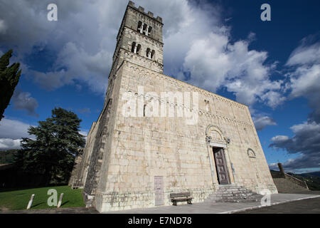 Duomo, Cathedral, Barga, Tuscany, Italy, sightseeing, place of interest, worship, medieval town, holiday, weekend - Stock Photo