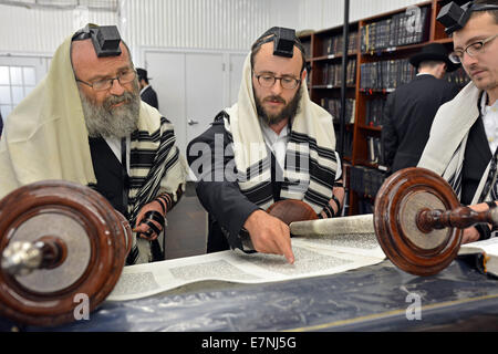 Torah reading during a morning prayers at the Ohel synagogue in Queens, New York - Stock Photo