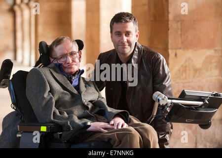 Professor Stephen Hawking  with Director,Stephen Finnigan, - Stock Photo