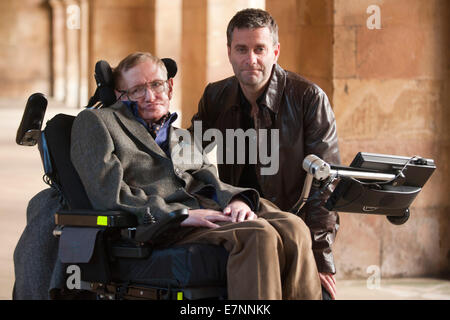 Professor Stephen Hawking  with Director,Stephen Finnigan - Stock Photo