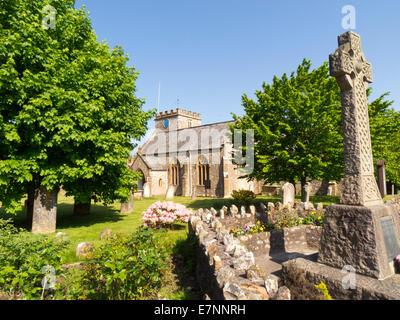 St Marys Church and war memorial at Hemyock village Devon - Stock Photo